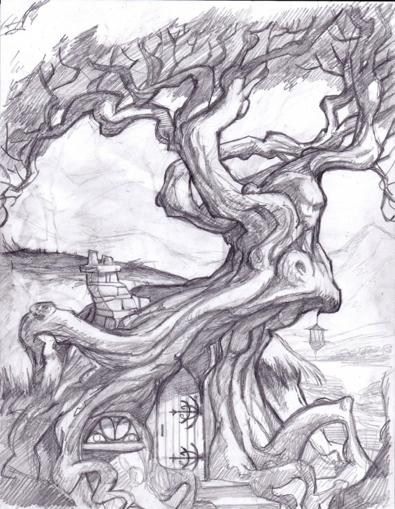 The Most Famous Environment Pencil Drawing Techniques Fantasy Tree Drawing | Displaying 17> Images For - Trippy Drawings Pic