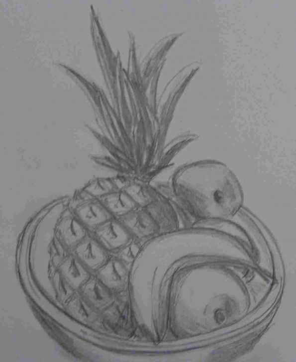 The Most Famous Fruits Pencil Drawing Step by Step Sketch Fruit Basket Drawing Picture