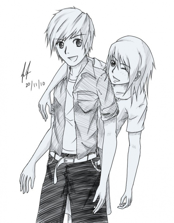 The Most Famous Girl And Boy Pencil Drawing Techniques Images For > Anime Girl And Boy Holding Hands Drawing | Love In 2019 Image