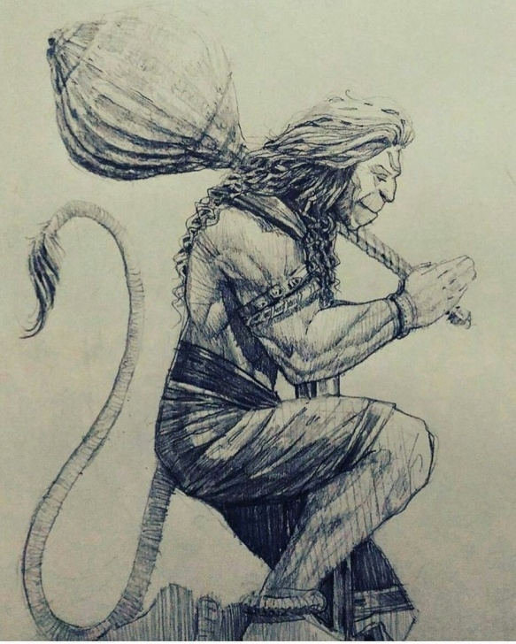 The Most Famous Hanuman Sketches Pencil Techniques Pin By Pranit Anil On Lord Hanuman In 2019 | Hanuman, Jai Hanuman Photos