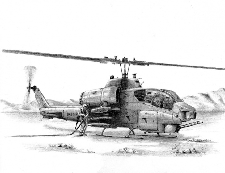 The Most Famous Helicopter Pencil Drawing Tutorial Cobra Refueling In The Field In This Print Of A Pencil Drawing By Frank  Dubose Images