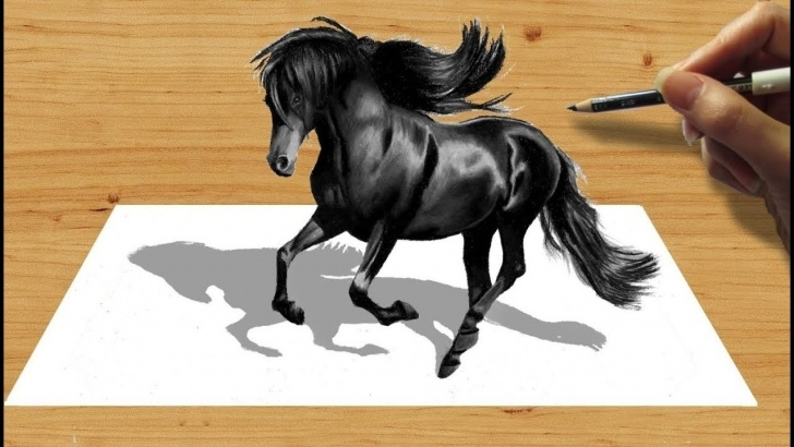 The Most Famous Horse Pencil Drawing Lessons 3D Pencil Drawing: Black Friesian Horse - Speed Draw | Jasmina Susak Images