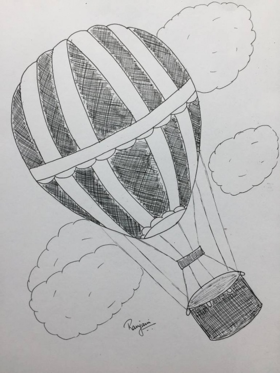 The Most Famous Hot Air Balloon Pencil Drawing Lessons Air Balloon Sketch At Paintingvalley | Explore Collection Of Air Picture