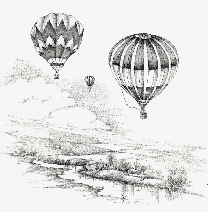The Most Famous Hot Air Balloon Pencil Drawing Techniques for Beginners Hot Air Balloons Flight Countryside Cottage Print Black White Sketching  Pencil Drawing Art Flight Floating Christian Prints Religious Art Images