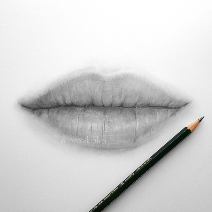 The Most Famous Lips Pencil Drawing Tutorials Video: Drawing Lips With Graphite Pencils #lippencilandlipstickcombo Picture