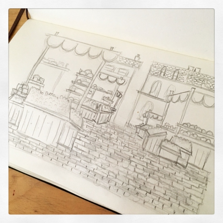 Market Pencil Drawing