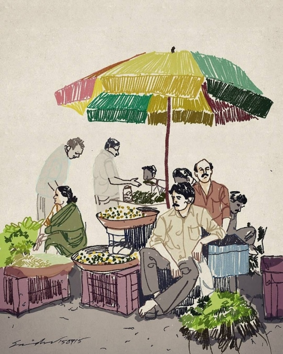 The Most Famous Market Pencil Drawing Techniques for Beginners Market # Shopping # Vegetables # Travel Photo