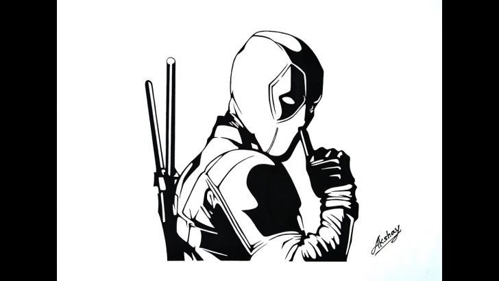 The Most Famous Marvel Stencil Art Simple How To Draw Deadpool - Ryan Reynolds - Stencil Art - Silhouette Drawing Pictures