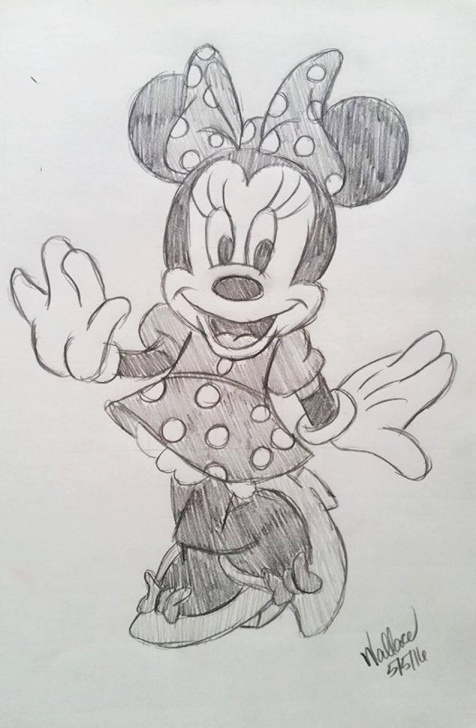The Most Famous Minnie Mouse Pencil Drawing Easy Disney's Minnie Mouse Sketch Drawing Pic