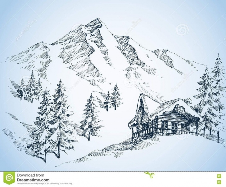 The Most Famous Mountain Scenery Sketch Tutorial Nature In The Mountains Sketch - Download From Over 54 Million High Pictures