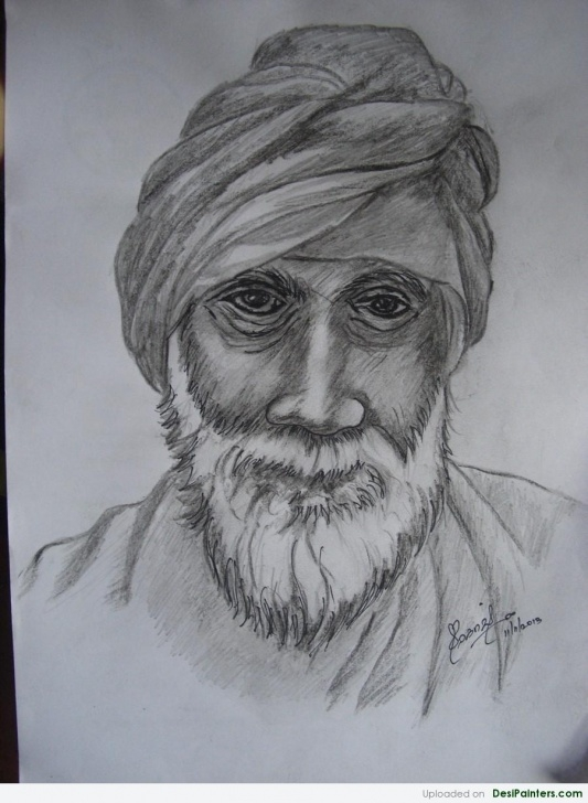 The Most Famous Old Man Drawing Pencil Tutorial Pencil Sketch Of An Old Man | Desipainters Image