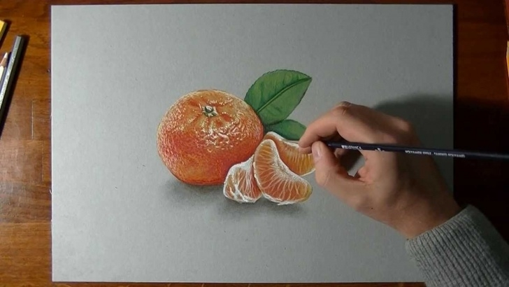 The Most Famous Orange Pencil Drawing for Beginners How I Draw A Mandarin Orange - Realistic Drawing | Videos For Art Pics