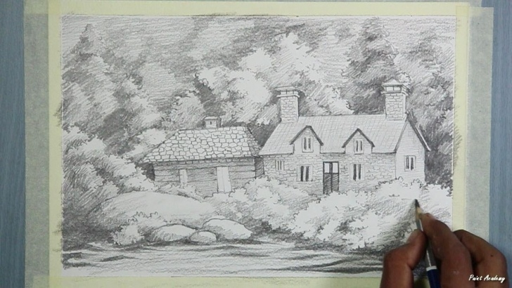 The Most Famous Pencil Art House Techniques Pencil Drawing | How To Draw A Beautiful House Landscape | Step By Step Pics