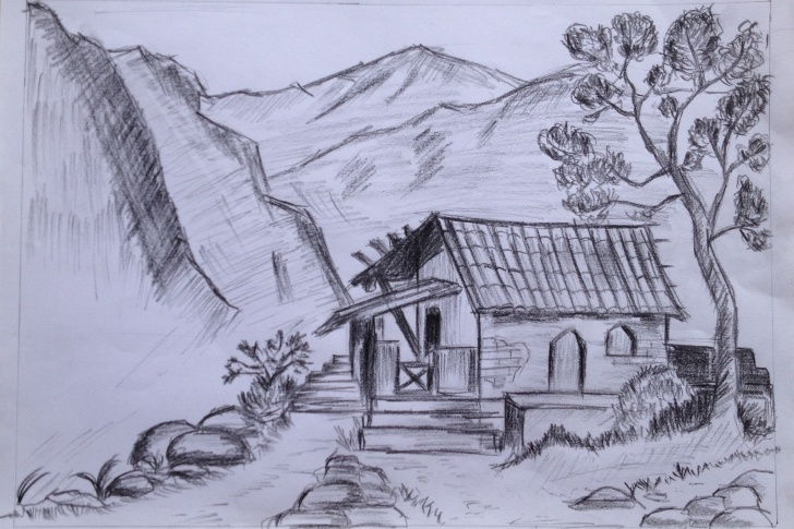 The Most Famous Pencil Drawing Of Hut Tutorial Hut Sketch At Paintingvalley | Explore Collection Of Hut Sketch Pictures