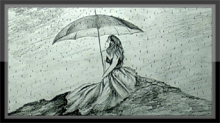 The Most Famous Rain Pencil Drawing Techniques Pencil Drawing Beautiful Girl In Rain With Umbrella Photos