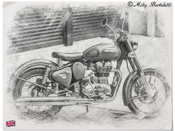 The Most Famous Royal Enfield Pencil Sketch Simple Drawing Classic Battle Green.,royal Enfield Parma | Guns | Royal Pictures