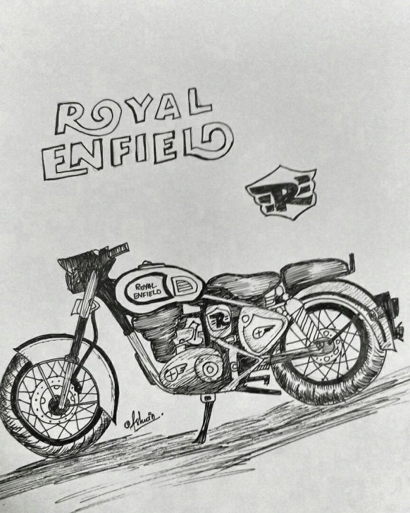 The Most Famous Royal Enfield Pencil Sketch Tutorials 12 Exceptional Royal Enfield Pencil Sketch Photos - Sketch - Sketch Arts Picture