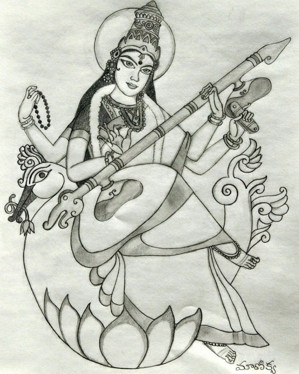 The Most Famous Saraswati Pencil Sketch Simple Goddess Saraswati #hinduism #goddess #pencilsketch | Pencil Sketch Photos