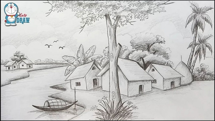 The Most Famous Scenery Sketches For Drawing Easy How To Draw Scenery / Landscape By Pencil Sketch Step By Step Photo