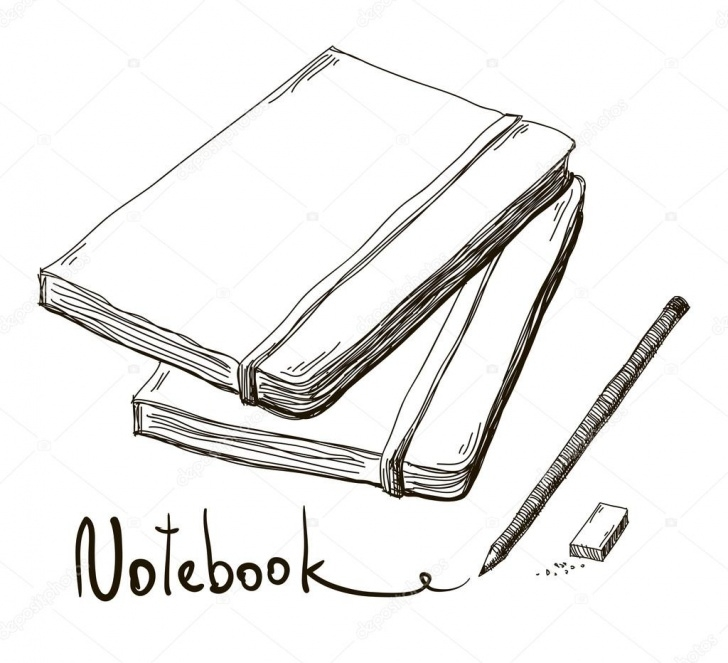 The Most Famous Sketch Of Pencil Techniques Sketch Of Notebook With Pencil And Eraser, Vector — Stock Vector Pic