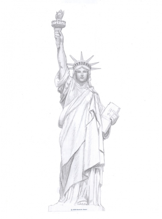 Statue Of Liberty Pencil Drawing
