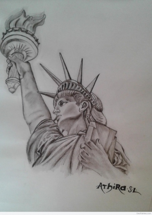 The Most Famous Statue Of Liberty Pencil Drawing Techniques Amazing Pencil Sketch Of Statue Of Liberty | Desipainters Pics