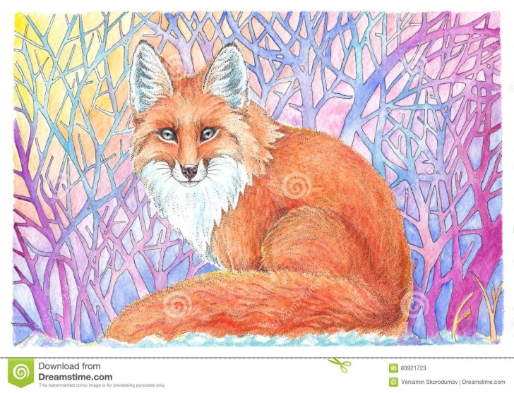 The Most Famous Watercolor And Colored Pencil Illustration Lessons Fox Drawing Watercolor And Colored Pencil Stock Illustration Pic