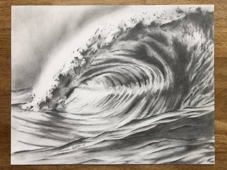 Wave Pencil Drawing