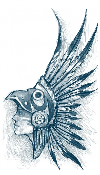 Top Aztec Pencil Drawings Free Aztec Warrior Head Drawing Aztec Warrior By Sam---Tan | Pencil Picture