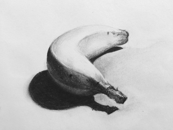 Top Banana Pencil Sketch Simple This Banana Study Was Completed In Charcoal As Part Of Drawing Pic