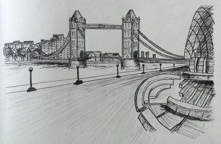 Top Bridge Pencil Drawing Simple Bridge Drawing, Pencil, Sketch, Colorful, Realistic Art Images Pictures