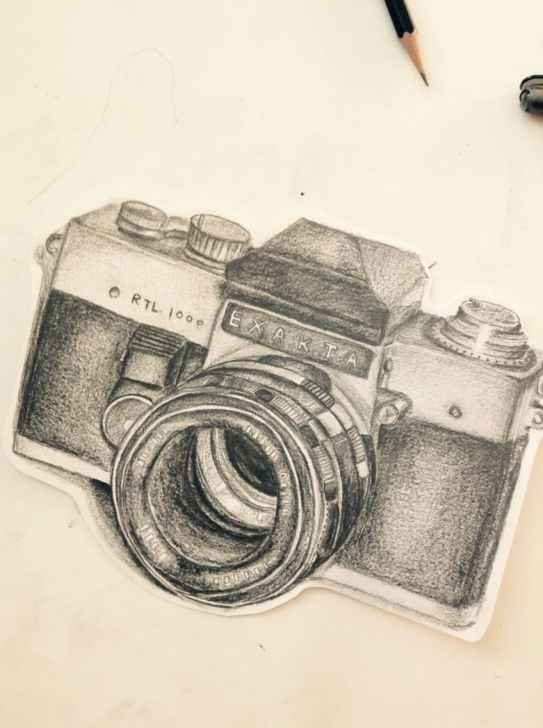 Top Camera Pencil Sketch Simple Pencil Drawing: Camera | Art | Pencil Drawings, Drawings, Diy Pics
