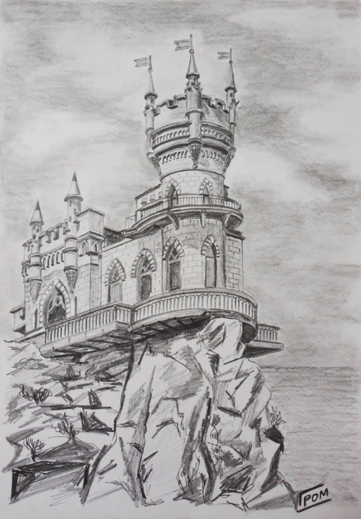 Top Castle Pencil Drawing Ideas Original Handmade Graphite Pencil Drawing Medieval Castle Landscape Fine  Art A4 Size Drawing Pictures