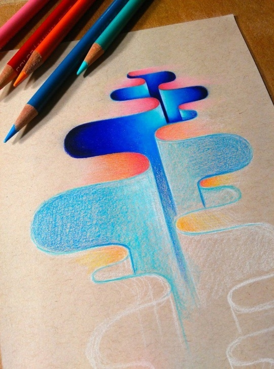 Top Cool Colored Pencil Drawings Simple I've Been Trying To Explore Abstract Ideas In My Free Time. It's Photo