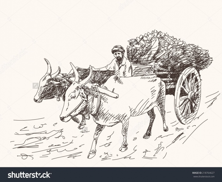 Top Farmer Pencil Drawing Courses Asian Farmer Riding On Ox Cart Stock Vector 218764627 - Shutterstock Image