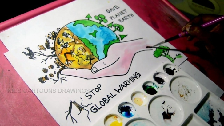 Top Global Warming Pencil Sketches Ideas How To Draw Stop Global Warming And Save Planet Earth Drawing For Kids Pictures