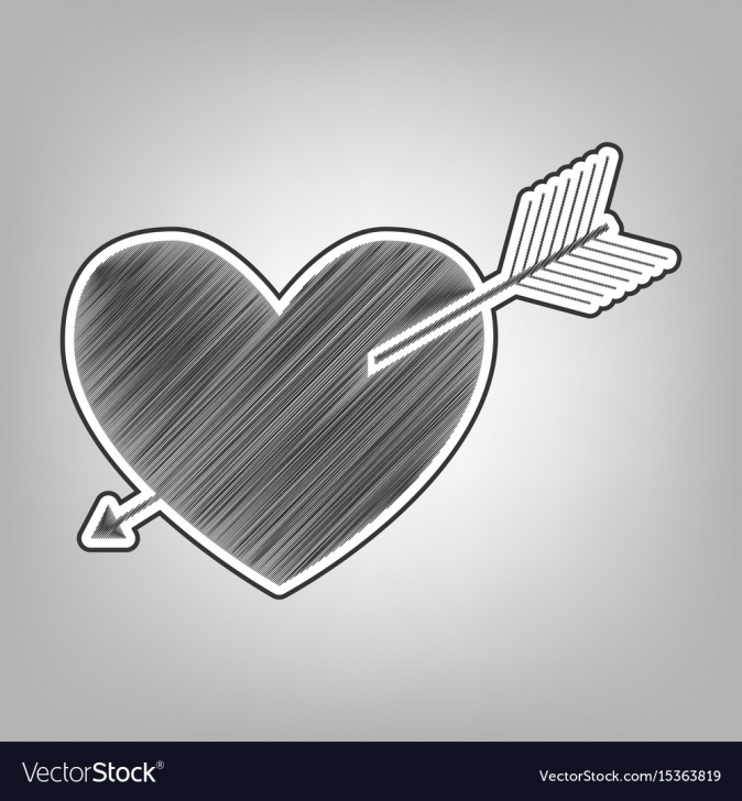 Top Heart Pencil Art Ideas Arrow Heart Sign Pencil Sketch Imitation Picture