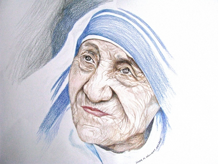 Top Mother Teresa Pencil Sketch Simple Mother Teresa - Color Pencil - Working On Portraits | Drawings And Picture