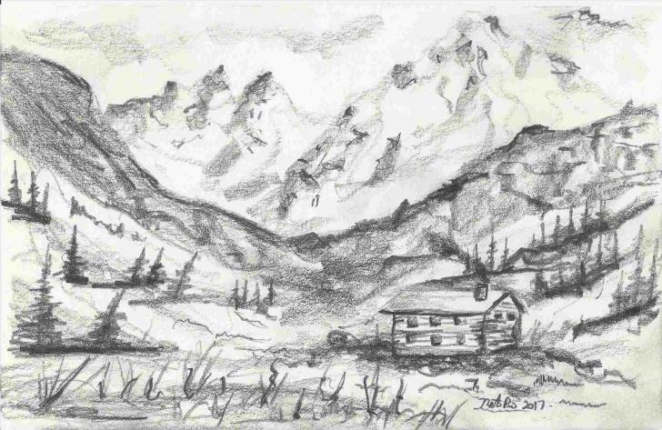Top Mountain Pencil Drawing Courses Mountain Landscape Pencil Drawing | Drawing Work Images