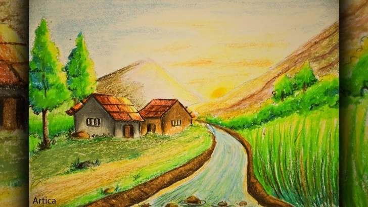 Top Nature Drawing With Pencil Colour Simple Pastel Color Painting Of A Landscape Scenery For Beginner Tutorial Picture