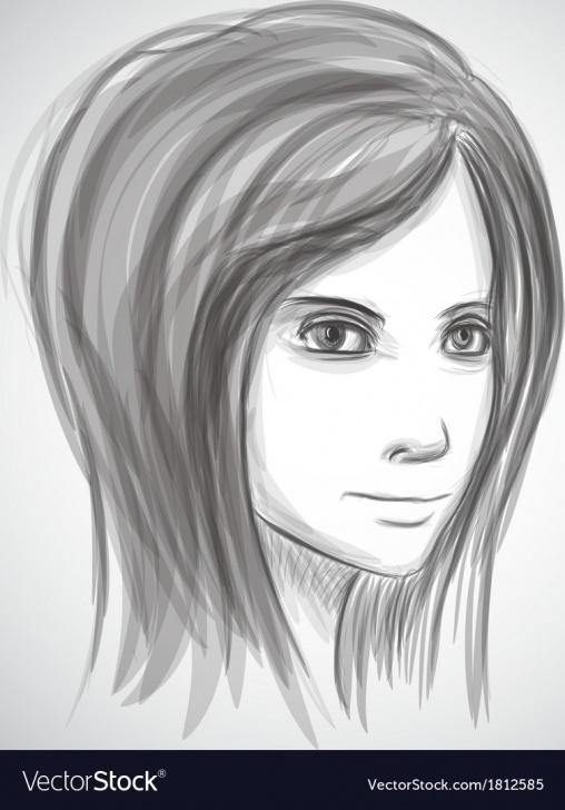 Top Pencil Art Girl Face Simple Beauty Girl Face Pencil Sketch Portrait Imitation Picture