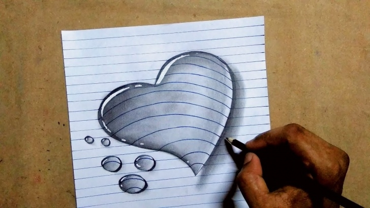 Top Pencil Drawings Of Love Hearts Ideas 3D Love Heart Water Drop Drawing On A4 Paper || Trick Pencil Sketch Pics