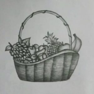 Top Pencil Shading Fruit Basket Tutorial How To Draw A Fruit Basket || Step By Step With Pencil Photos