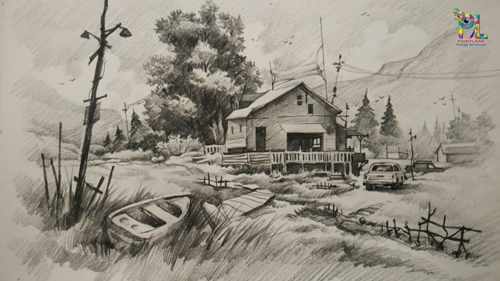 Top Pencil Shading Landscape Tutorials How To Draw And Shade A House With Landscape At Mountain Place | Drawing |  Shading | With Pencil Image