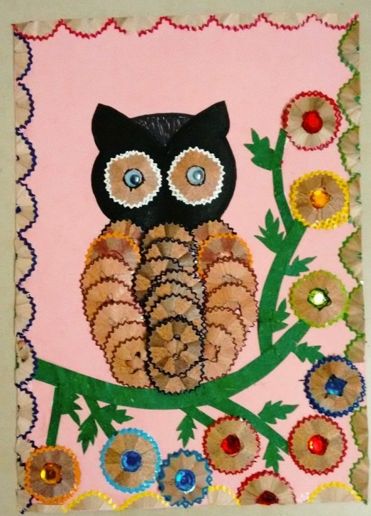 Top Pencil Shaving Art Ideas Owl With Pencil Shavings .#crafts2Dio #owl #bestoutofwaste #craft Picture