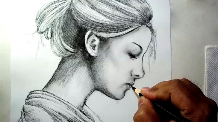 Top Pencil Sketch Of Girl Face Ideas How To Draw A Girl Face Side View || Charcoal Pencil Drawing And Shading Photo