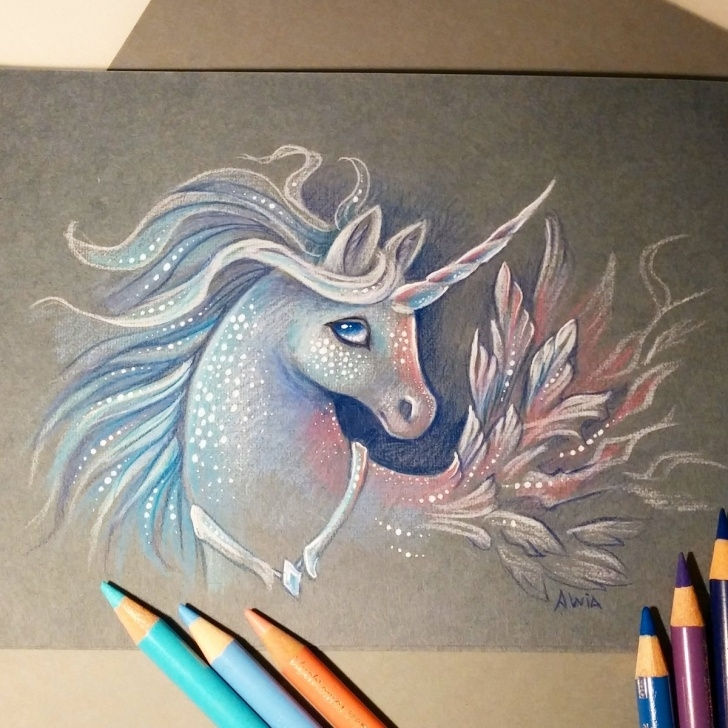 Top Unicorn Pencil Sketch Simple Colored Pencil Sketch A Shadow In The Night ? Unicorn — Steemit Picture