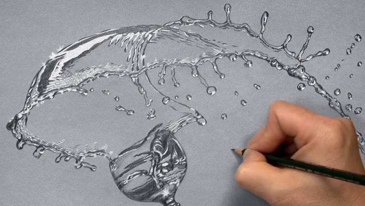 Top Water Pencil Sketch for Beginners How To Draw Glass - Splashing Water - Pencil Drawing - Paintingtube Pics