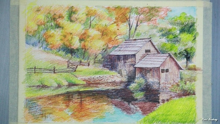 Top Watercolor Pencil Landscape Lessons Painting A House Landscape With Watercolor Pencil | Step By Step Photos