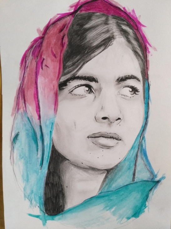 Top Watercolour And Pencil Step by Step Malala Yousafzai. Watercolour And Pencil.a3 : Art Pics